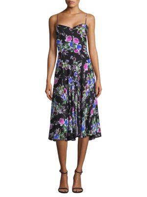 Emily Rose-Print Georgette Dress, Black Multi