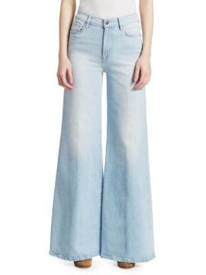 Le Palazzo Frayed Cropped High-Rise Wide-Leg Jeans in Light Denim
