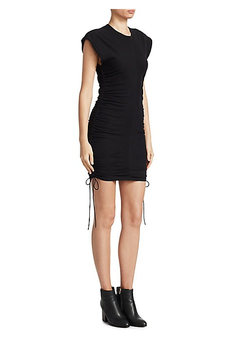"Image of Cotton mini dress with ruched side tie details. Roundneck. Short sleeves. About 38"" from shoulder to hem. Cotton. Combo: Silk. Dry clean. Imported. Model shown is 5'10"" (177cm) wearing US size Small."