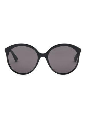 Monocolor Round Sunglasses, 59Mm, Black