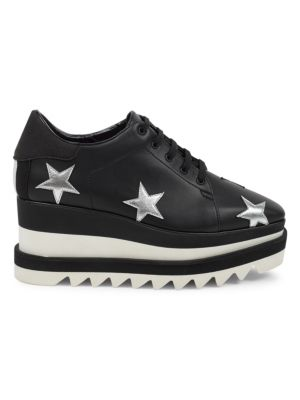 Elyse Black & Silver Sneakers In Polyurethane