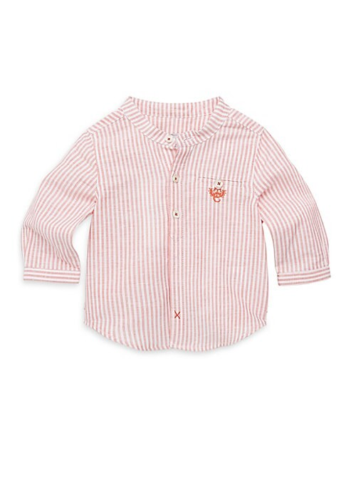 Image of Stripes cover tailored linen-blend shirt. Banded collar. Long sleeves. Button cuffs. Button front. Buttoned chest pocket. Back box pleat. Cotton/linen. Machine wash. Imported.