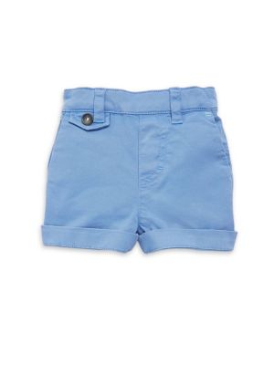 Image of Preppy cotton shorts with cuffed hem. Belt loops. Elasticized back waist. Faux fly. Waist slant pockets. Front buttoned coin pocket. Back button flap pocket. Cotton/elastane. Machine wash. Imported.
