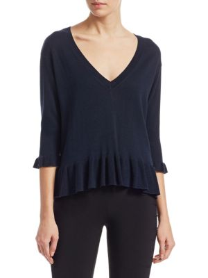 """Image of Ruffle knit top crafted in luxe silk and cashmere.V-neck. Three-quarter sleeves. Pullover style. About 25"""" from shoulder to hem. Silk/cashmere. Dry clean. Imported. Model shown is 5'10"""" (177cm) wearing US size Small."""