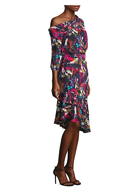 """Image of Asymmetrical blouson dress with brightly hued botanicals. Draped asymmetric neckline. Three-quarter sleeves. Elasticized cuffs. Asymmetric ruffle hem. Lined. About 42"""" from shoulder to hem. Silk. Dry clean. Imported. Model shown is 5'10"""" (177cm) wearing U"""