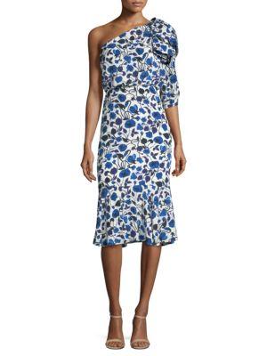 Saloni  Juliet Silk Flounce Dress