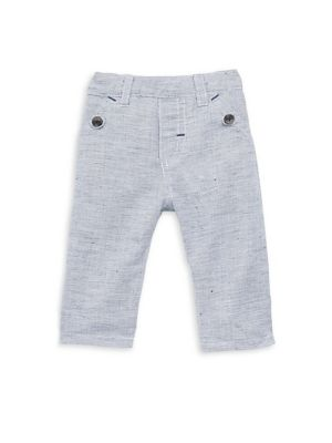 Image of Heathered pants tailored from soft cotton-blend fabric. Belt loops. Elasticized waist. Front buttoned slip pockets. Back patch pockets. Cotton/linen. Machine wash. Imported.
