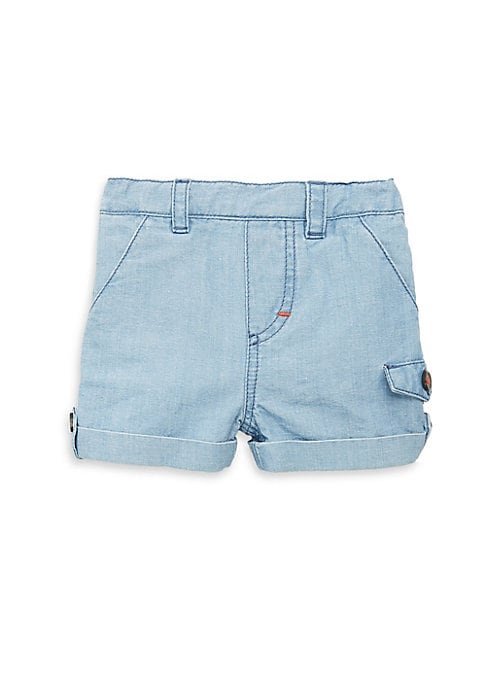 Image of Casual denim shorts with folded cuffs. Belt loops. Cotton. Machine wash. Imported.