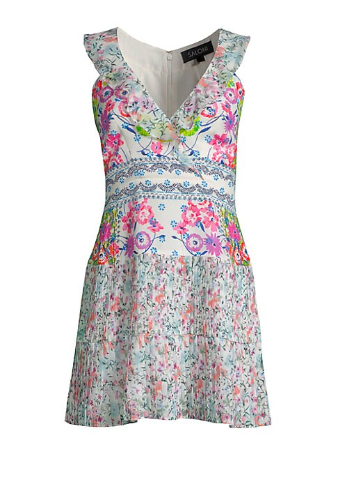 """Image of From the Saks It List: Garden Party Florals. Pleated silk dress in colorful mixed floral print. V-neck. Sleeveless. Concealed back zip closure. About 34"""" from shoulder to hem. Silk. Dry clean. Imported. Model shown is 5'10"""" (177cm) wearing US size 4. ."""