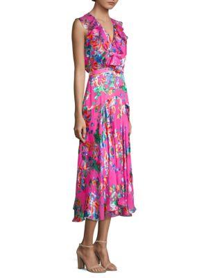Rita Floral-Print Devoré-Chiffon Midi Dress in Pink