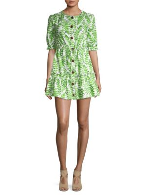 Billie Fern-Print Cotton Dress - Green Size 6 in Green Fern Emrboidery