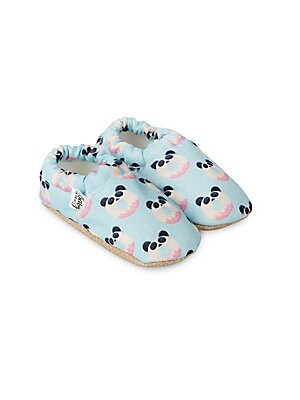 Image of Adorable moccasins with donut panda print Polyester upper Round toe Slip-on style Polyester lining Polyurethane sole Imported. Children's Wear - Children's Shoes. Baby on the Go. Size: 17 EUR/ 1 US (Baby).