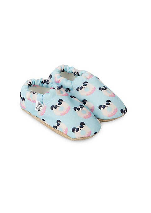 Image of Adorable moccasins with donut panda print. Polyester upper. Round toe. Slip-on style. Polyester lining. Polyurethane sole. Imported.