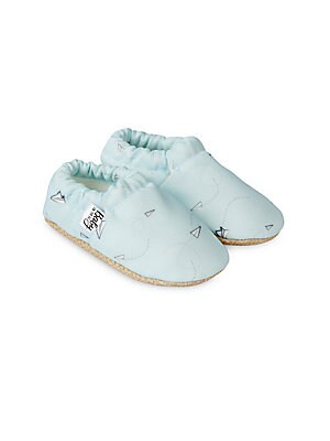 Image of Adorable moccasins with paper-plane print Polyester upper Round toe Slip-on style Polyester lining Polyurethane sole Imported. Children's Wear - Children's Shoes. Baby on the Go. Color: Light Blue. Size: 17 EU/ 1 US (Baby).