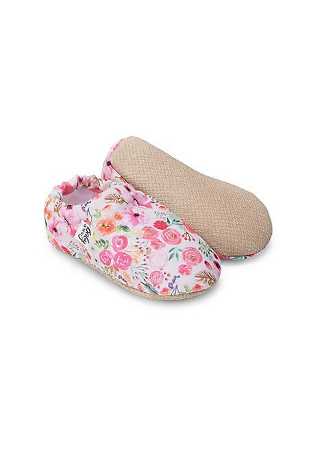 Image of Comfortable moccasins with an allover floral print. Slip-on style. Polyester with digital sublimation print upper. Polyester lining. Polyurethane sole. Imported.