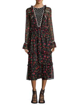DODO BAR OR Roberta Rose-Print Bell-Sleeve Dress in Black Red