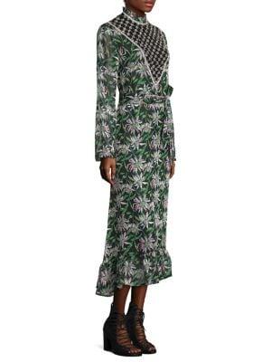 Crystal-Embellished Ruffled Floral-Print Chiffon Midi Dress in Black