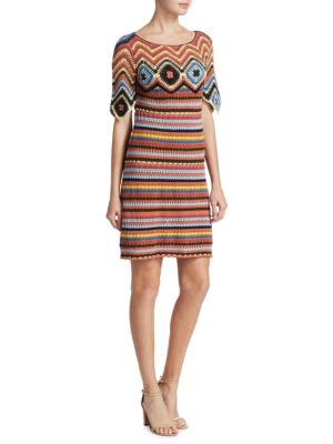 Striped Knit Short-Sleeve Cotton Dress in Tan from LastCall.com