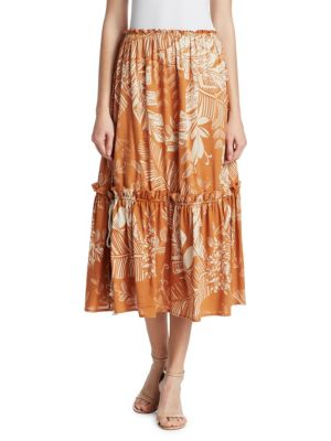 Frill-Trimmed Jungle-Print Cotton-Blend Skirt in Brown