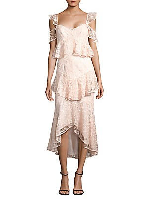 """Image of Cold shoulder dress in delicate tiered lace Cold shoulders Sweetheart neckline Concealed back zip closure About 40"""" from shoulder to hem Recycled polyester Dry clean Imported Model shown is 5'10 (177cm) wearing US size 4. Contemporary Sp - Contemporary Co"""