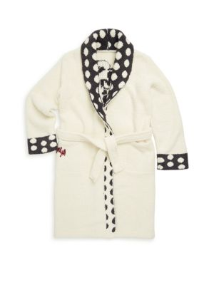 Image of Cozy flannel bath robe with Mickey Mouse logo and polka-dot trim. Shawl collar. Long sleeves. Open front. Self-tie belt at waist. Polyester. Machine wash. Imported.