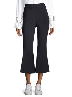 William Cropped Stretch-Cady Flared Pants in Black