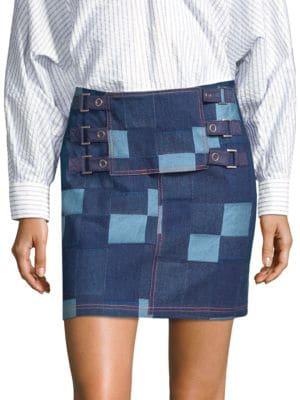 Patched Tab Straight Denim Skirt, Indigo