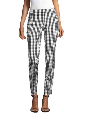 "Image of Allover check pattern adds dimension to pants. Banded waist. Side seam pockets. Rise, about 9"".Inseam, about 29"".Leg circumference, about 13"".Cotton/nylon/spandex. Dry clean. Imported. Model shown is 5'10"" (177cm) wearing US size 4."