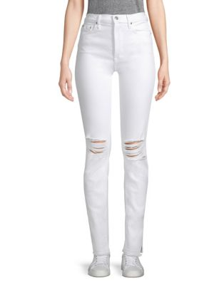 High-Rise Distressed Skinny Jeans in White