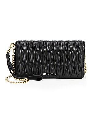 a813339fcd3a Miu Miu - Matelassé Leather Chain Wallet - saks.com