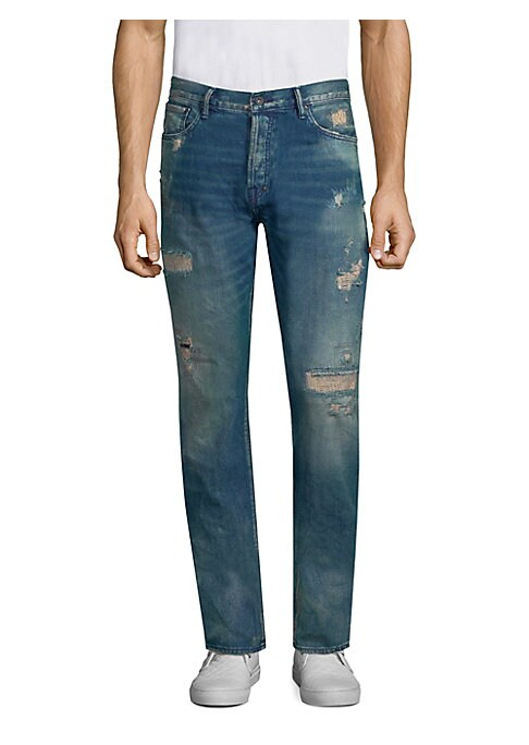 """Image of Cotton straight fit jeans with whiskering design on front. Belt loops. Button closure. Five-pocket style. Rise, about 10"""".Inseam, about 34"""".Leg opening, about 16"""".Cotton. Machine wash. Imported."""