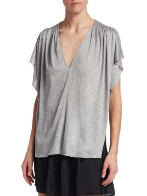 Halston Heritage  Ruched V-Neck Tee