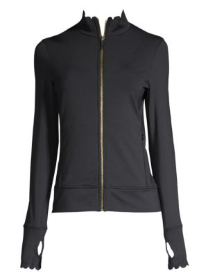 Scallop Zip-Front Jersey Jacket in Black from Kate Spade
