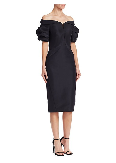 "Image of Puffed sleeves add volume to sleek silk faille midi dress. Off-shoulder neckline. Short puffed sleeves. Concealed back zip. About 40"" from shoulder to hem. Silk. Dry clean. Made in USA. Model shown is 5'10"" (177cm) wearing US size 4."