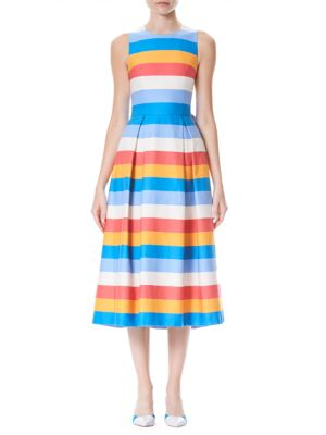 Tie-Back Striped Cotton And Silk-Blend Midi Dress in Blue from LastCall.com