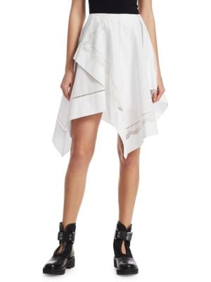 Cotton Poplin Handkerchief Skirt in White
