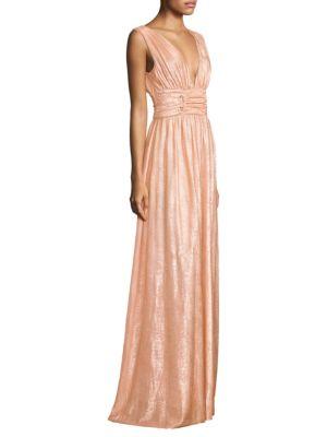 RACHEL ZOE Madison Metallic Knitted Maxi Dress in Peach