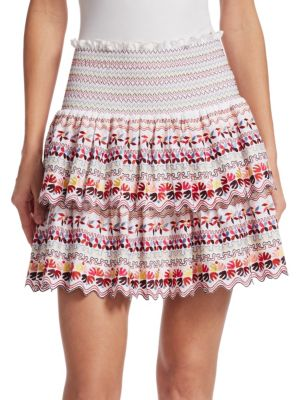 Embroidered High Waisted Skirt, White Multi