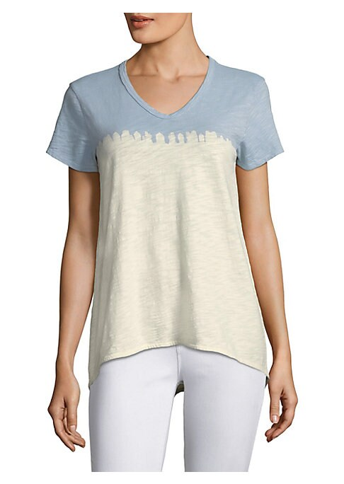 "Image of Colorblocked v-neck tee in soft burnout cotton.V-neck. Short sleeves. Pullover style. Back seamed detail. Asymmetric hi-lo hem. About 24"" from shoulder to hem. Cotton. Machine wash. Made in USA. Model shown is 5'10"" (177cm) wearing US size Small."