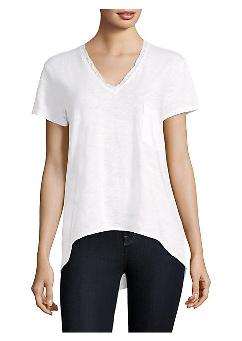 """Image of Delicate lace trims soft V-neck t-shirt.V-neck. Short sleeves. Pullover style. Chest patch pocket. Hi-lo hem. About 24"""" from shoulder to hem. Cotton. Machine wash. Made in USA. Model shown is 5'10"""" (177cm) wearing US size Small."""