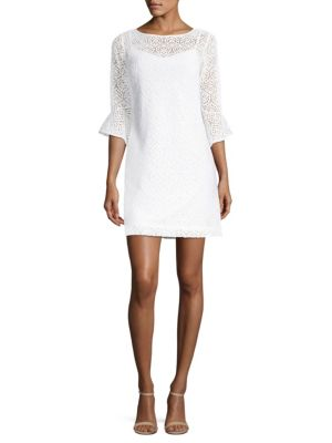 """Image of Airy open lace dress with flounce sleeves. Roundneck. Three-quarter flounce sleeves. Back keyhole. Pullover style. About 35"""" from shoulder to hem. Polyester. Machine wash. Imported. Model shown is 5'10"""" (177cm) wearing US size Small."""