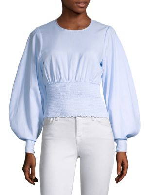 PROSE & POETRY Gemma Smocked Cotton Top in Powder Blue