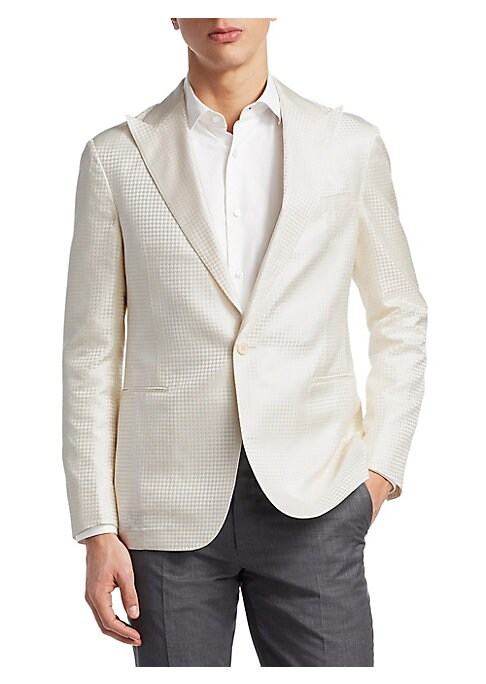 """Image of Classy silk jacket in delicate houndstooth textures. Notch lapels. Long sleeves. Front button closure. Chest slip pocket. Side welt pockets. Vented hem.30"""" shoulder to hem. Silk. Dry clean. Imported."""