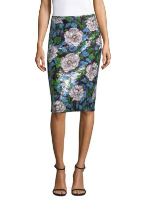 Sequinned Floral Pencil Skirt in Multicolour