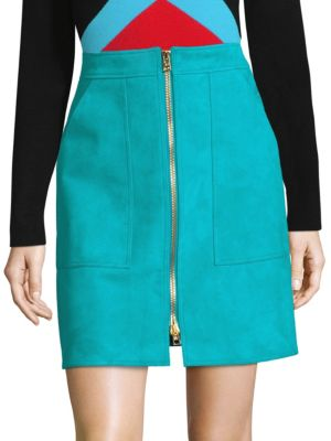 Patch Pocket Zip-Front Mini Skirt, Teal