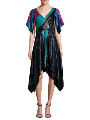 Dvf Diane Von Furstenberg V-Neck Flutter Asymmetric Silk Dress - Black