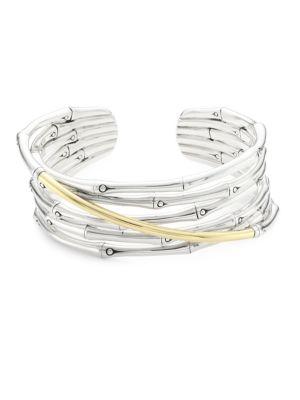 Bamboo 18K Gold & Silver Flex Cuff Bracelet in Silver/ Gold
