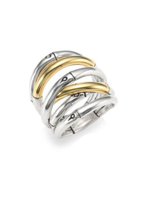 Bamboo 18-Karat Gold Sterling Silver Stack Ring in Silver/ Gold