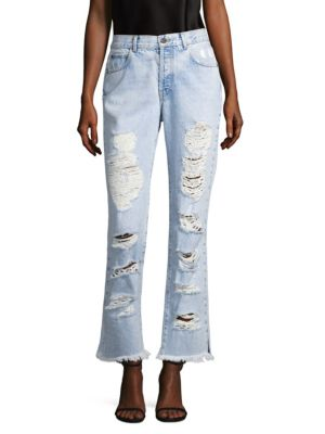 AO.LA Genevive Extreme Distressed Girlfriend Jeans in Light Blue