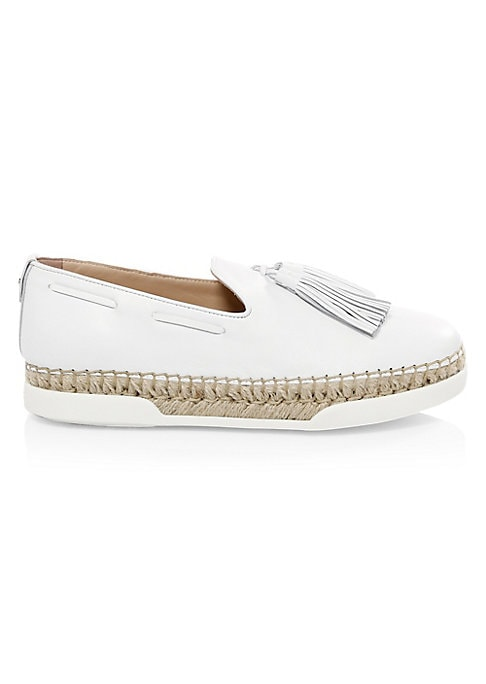 Image of Part espadrille, part boat shoe and part loafer - these slip-on shoes have a smooth upper with tassel feature and raffia rubber sole. Leather and raffia upper. Mild wedge sole. Almond toe. Slip-on style. Tassels. Rubber sole. Made in Italy.
